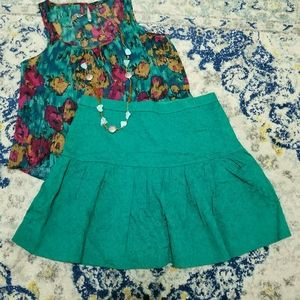 J. Crew Jade Green Tapestry Flared Circle Skirt 6